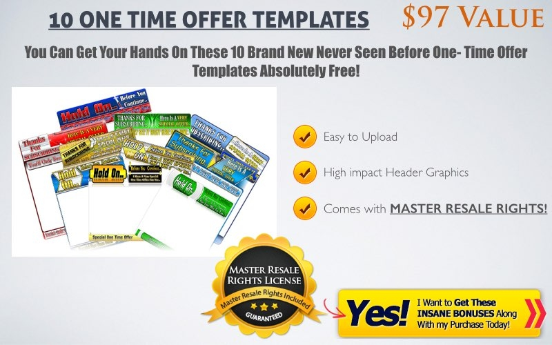 one time offer 10 with master resale rights